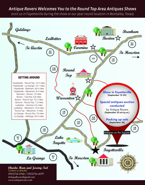 Round Top Antiques Show Map - Show a map of texas