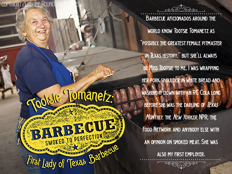Opening spread of Round Top Register's story on pitmaster Tootsie Tomanetz